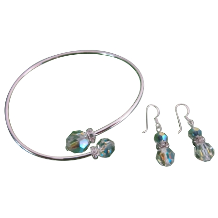 AB Crystals Trendy For Wedding Party BDay Gift Bracelet & EArrings