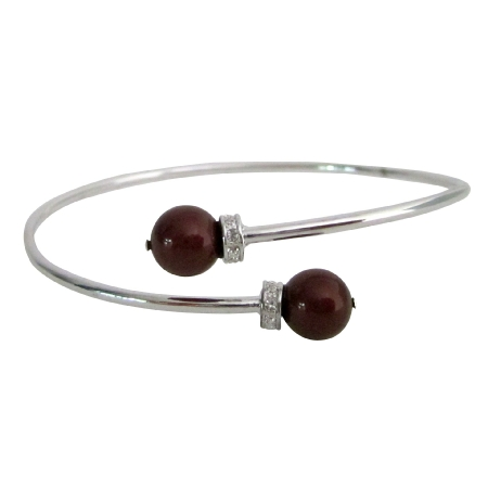 Inspired Design Wine Color Pearls Silver Cuff Bracelet Superb Price
