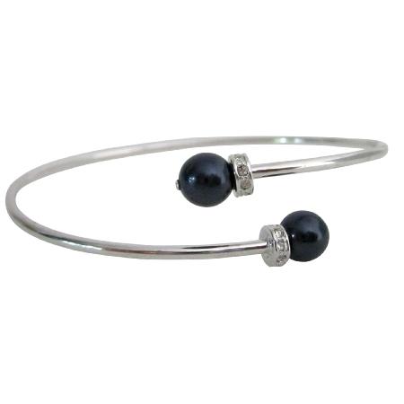 Fashion Cuff Bracelet Dark purple Pearls & Silver Wire