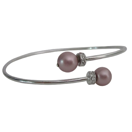 Anniversary Gift Powder Rose Color Pearls Silver Cuff Bracelet
