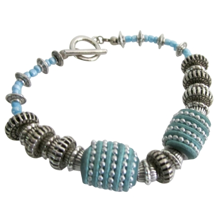 Shop Chunky Tribal Handmade Turquoise Blue Silver Beads Bracelet