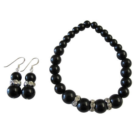 Handmade Stretchable Black Pearl Bracelet Matching Earrings Gift