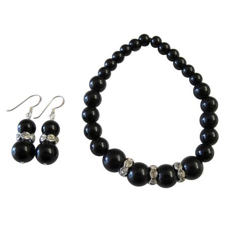 Handmade Stretchable Black Pearl Bracelet Matching Earrings Gift