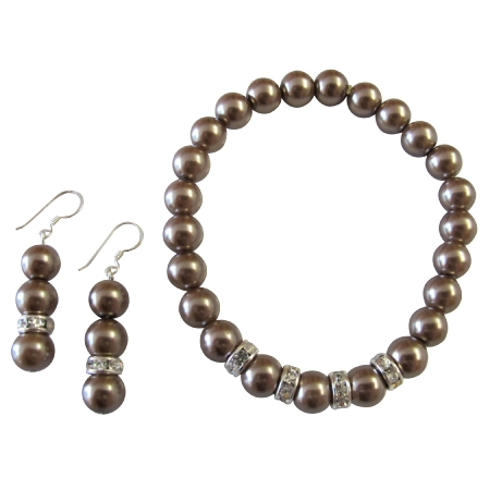 Brown Pearl Jewelry Stretchable Bracelet Earrings Set Flower Girl Gift
