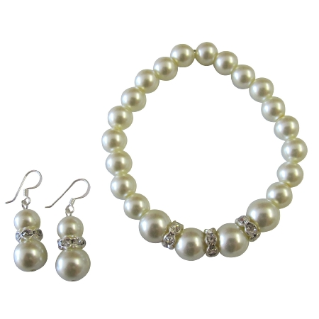 Breathtaking Wedding Jewelry In Cream Pearl Bracelet Earrings Set