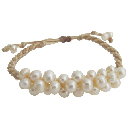 Freshwater Pearl Hand Knitted Wedding Bracelet Beige Chord Adjustment