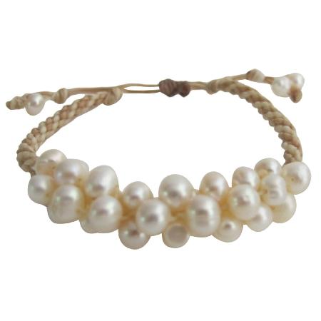 Freshwater Pearl Jewelry Braided Interwoven Bracelet Stud Earrings Set