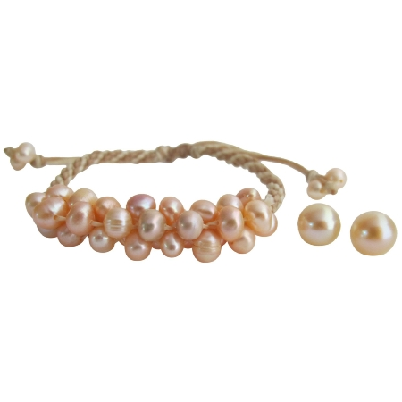 Peach Freshwater Pearl Bracelet Stud Earrings Accessories Jewelry Set