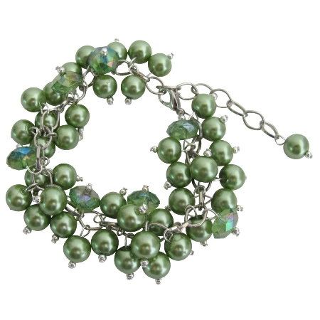 Kelly Green Wedding Bridesmai Bracelet Jewelry Stunning Style