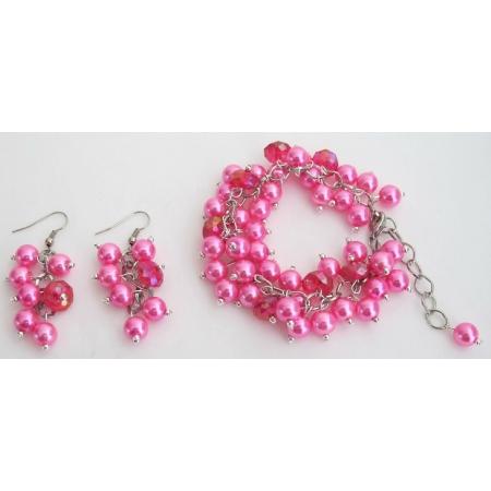 Chunky Beaded Bracelet Earrings Set In Fuchsia Jewelry Gift