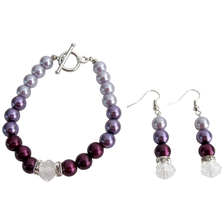Modern Desing Wedding Jewelry In Plum Color Bracelet Earrings Set