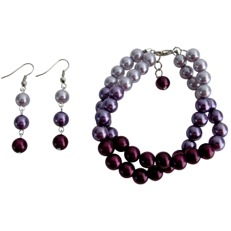 Pretty Wedding Jewelry In Plum Color Two Strand Bracelet with Earrings