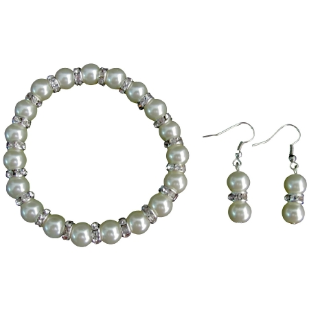 Sparkling Bling Bling Ivory Pearl Stretchable Bracelet Earrings Set