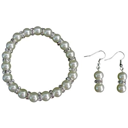 Sparkling Bling Bling Ivory Pearl Stretchable Bracelet Earrings Set