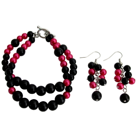 Gorgeous Magenta Black Pearls Bracelet Earrings Set
