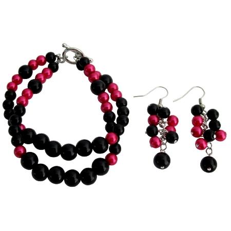 Gorgeous Magenta Black Pearls Bracelet Earrings Set