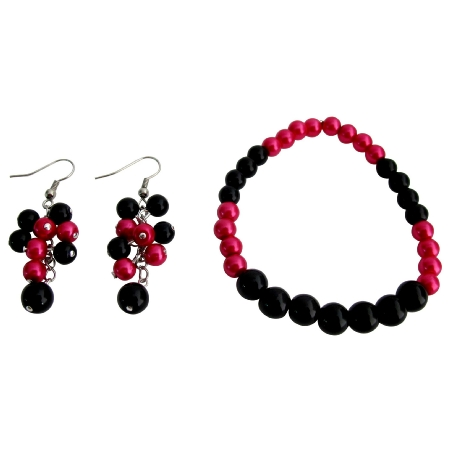 Stunning Stretchable Bracelet Grape Earrings Magenta Black Pearls