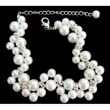 Gorgeous Bridal Bracelet Twisted White Pearl Bridesmaid Wedding Gift