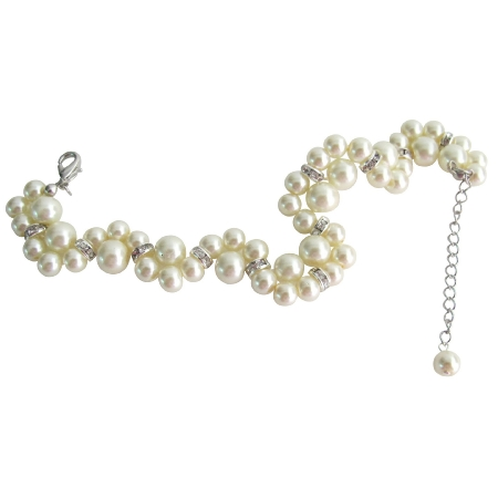 Excellent Quality Bridal Bracelet Cream Pearls Twisted Bracelet