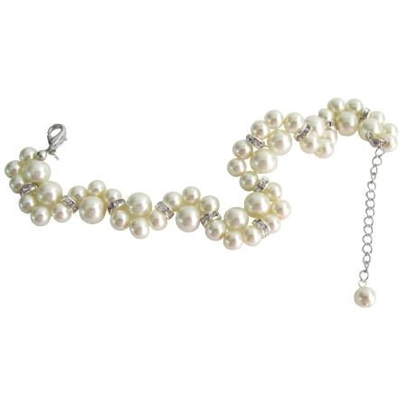 Excellent Quality Bridal Bracelet Cream Pearls Twisted Bracelet