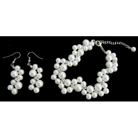 Glass Pearls Wedding Gift White Pearl Bridesmaid Bracelet Earrings Set