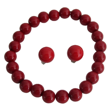 Enticing Red Jewelry Stretchable Bracelet Stud Earrings Dance Jewelry