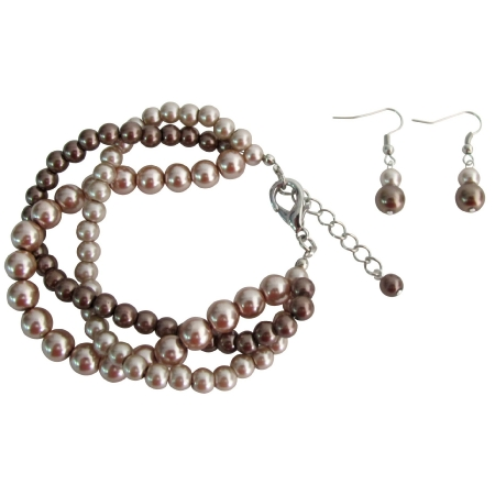 Wedding Jewelry Twisted Pearl Mocha Three Strand Bracelet Earrings Set