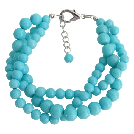 Turquoise 3 Strand Bracelet Gift Your Girl Friend Holiday Wear