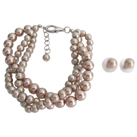 Bridesmaid Collection Champagne Pearl Stud Earrings 3 Strand Bracelet