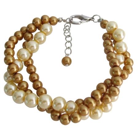 Pearl Bracelet Classic & Contemporary Gold & Yellow 3 Strand Bracelet