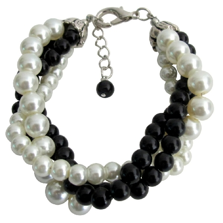 Black Ivory Pearl Bracelet Costume Wedding Jewelry 4 Strand Bracelet