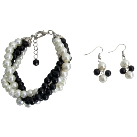 Twisted Cluster 4 Strand Bracelet & Earrings Black Ivory Pearl  Bracelet
