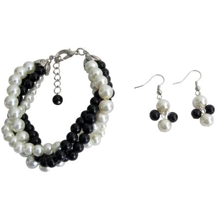 Twisted Cluster 4 Strand Bracelet & Earrings Black Ivory Pearl  Bracelet