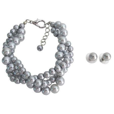 Wedding Set Bridesmaid Jewelry 3 Strand Gray Pearl Bracelet Stud Earrings