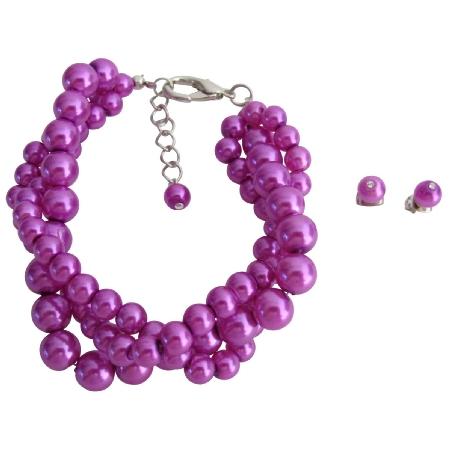 Handmade Purple Bracelet Stud Earrings Gift Beautiful Purple Jewelry