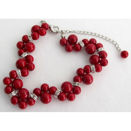Holiday Gift Bridal Bracelet Twisted Red Pearl Handmade Artisan Jewelry