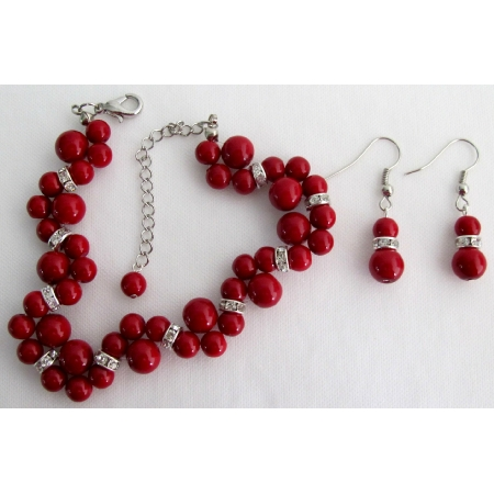 Wedding Popular Items In Red Pearls Twisted Bracelet with Matching Earrings