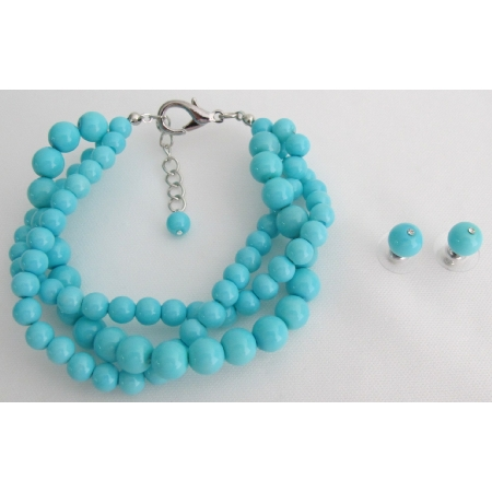 Turquoise Cluster Chunky Jewelry 3 Strand Bracelet Earrings Set