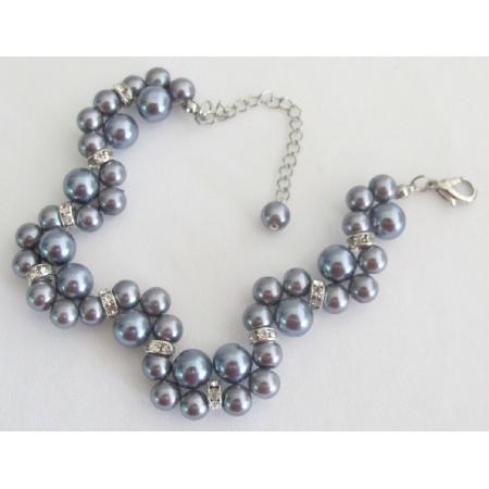 Wedding or Prom Handmade Interwoven Twisted Gray Pearls Bracelet