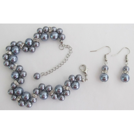 Popular Items Bridesmaid Bridal Handmade Customize Gray Jewelry Set