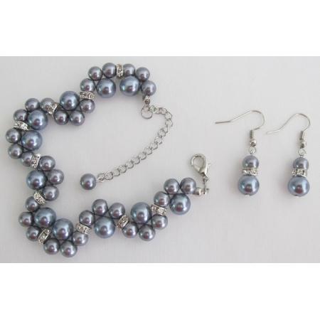 Popular Items Bridesmaid Bridal Handmade Customize Gray Jewelry Set