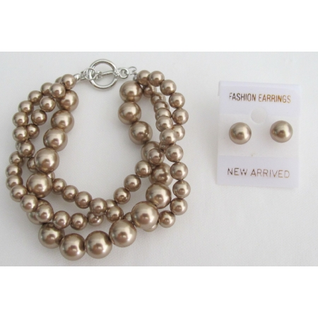 Bronze Crystal Pearl 3 Strand Bracelet with Stud Earrings