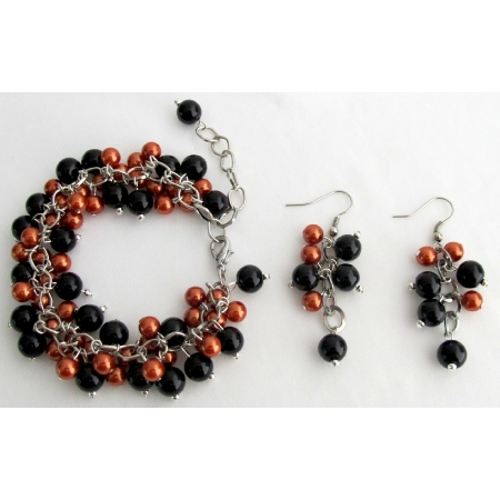 Chunky Burnt Orange Black Pearl Beaded Halloween Bracelet Earrings