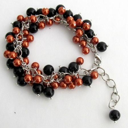Halloween Style Bracelet Cluster Beaded Chunky Orange Black Pearls