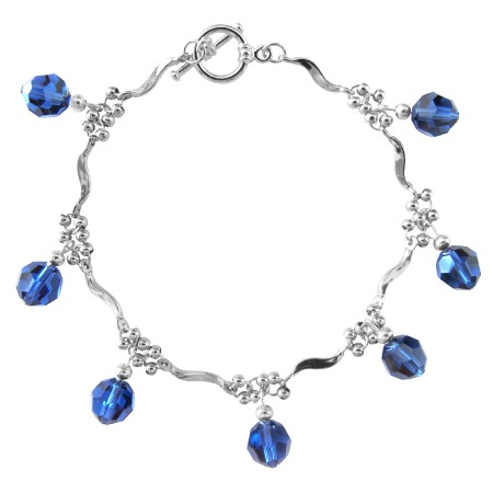 Elegant Formal Bracelet in silver w/ Sapphire Crystals hanging