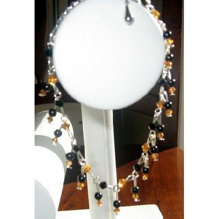 Vintage Style Topaz & Jet Crystals Bracelet
