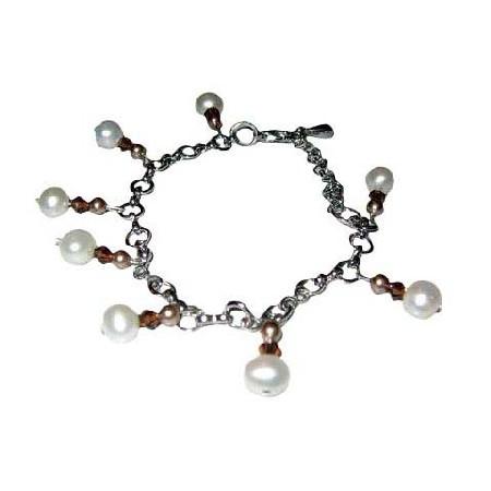 Exquisite & Elegant Bracelet in Pearls & Crystals
