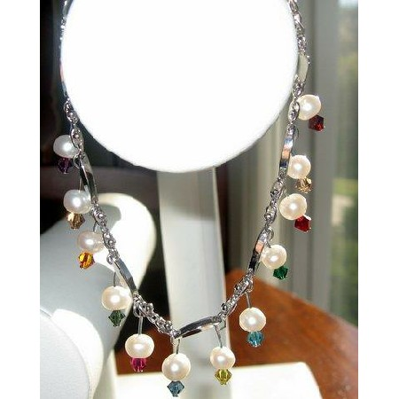 Gorgeous Fresh water Pearls & Multicolored Crystals