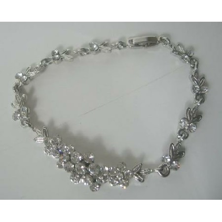 Women Simulated Diamond Silver Multi CZ Bracelet 8 inches
