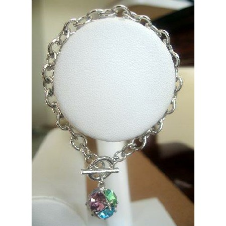 Toggle Bracelet w/ Ball in multi colors Crystals Ball